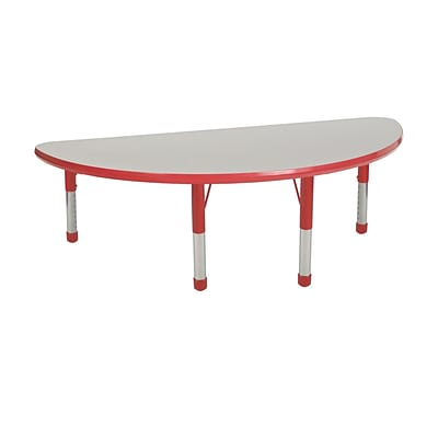 "24""x48"" Half Round T-Mold Activity Table, Grey/Red/Chunky"