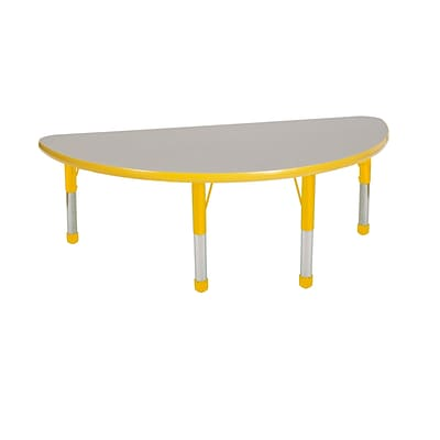 "24""x48"" Half Round T-Mold Activity Table, Grey/Yellow/Chunky"