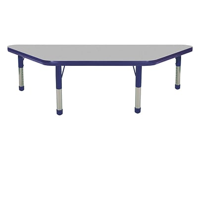 "24""x48"" Trapezoid T-Mold Activity Table, Grey/Navy/Chunky"