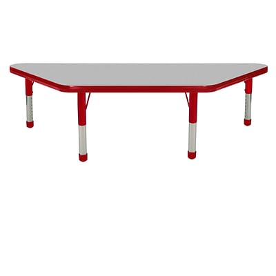 "24""x48"" Trapezoid T-Mold Activity Table, Grey/Red/Chunky"