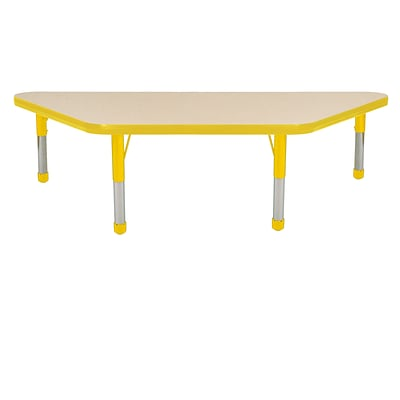 "24""x48"" Trapezoid T-Mold Activity Table, Maple/Yellow/Chunky"