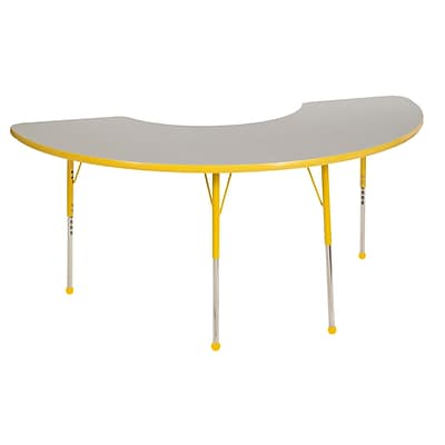 "36""x72"" Half Moon T-Mold Activity Table, Grey/Yellow/Toddler Ball"