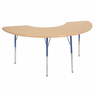"36""x72"" Half Moon T-Mold Activity Table, Maple/Maple/Blue/Standard Swivel"