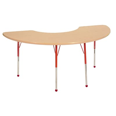"36""x72"" Half Moon T-Mold Activity Table, Maple/Maple/Red/Toddler Ball"