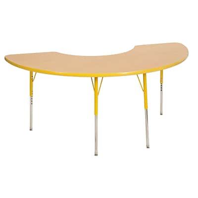 "36""x72"" Half Moon T-Mold Activity Table, Maple/Yellow/Standard Swivel"