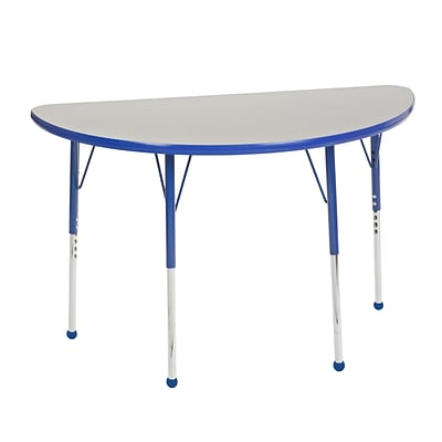 "24""x48"" Half Round T-Mold Activity Table, Grey/Blue/Standard Ball"