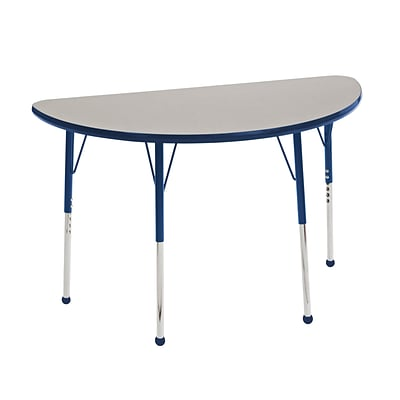 "24""x48"" Half Round T-Mold Activity Table, Grey/Navy/Toddler Ball"