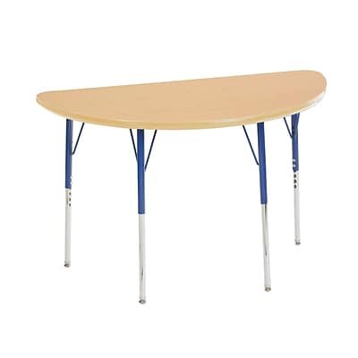 "24""x48"" Half Round T-Mold Activity Table, Maple/Maple/Blue/Toddler Swivel"