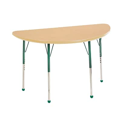 "24""x48"" Half Round T-Mold Activity Table, Maple/Maple/Green/Toddler Ball"