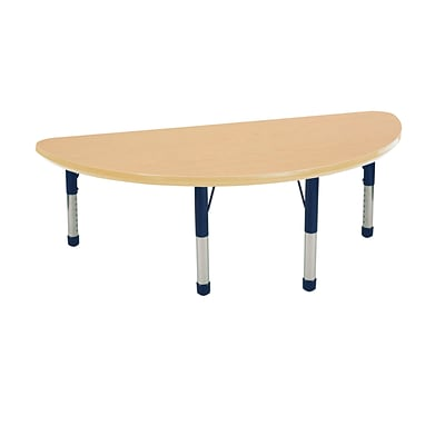 "24""x48"" Half Round T-Mold Activity Table, Maple/Maple/Navy/Chunky"