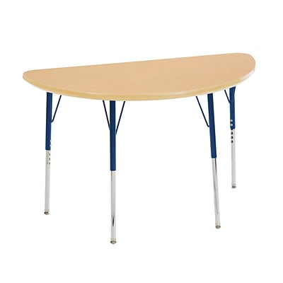 "24""x48"" Half Round T-Mold Activity Table, Maple/Maple/Navy/Toddler Swivel"