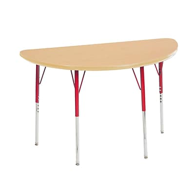 "24""x48"" Half Round T-Mold Activity Table, Maple/Maple/Red/Standard Swivel"