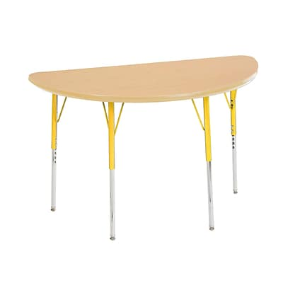 "24""x48"" Half Round T-Mold Activity Table, Maple/Maple/Yellow/Toddler Ball"