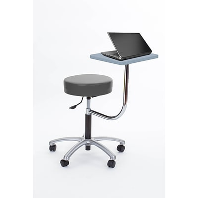 Brandt Laptop Adjustable Height Revolving Stool with 360 Degree Rotating Desk (14111 Charcoal)