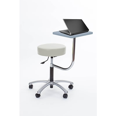 Brandt Laptop Adjustable Height Revolving Stool with 360 Degree Rotating Desk (14111 Ivory)