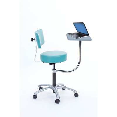 Brandt Laptop Adjustable Height Revolving Stool and Backrest with 360 Degree Rotating Desk (14112 Aqua)
