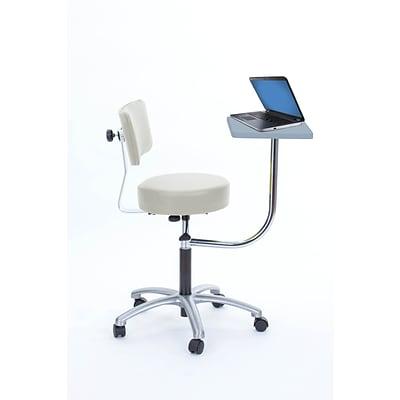 Brandt Laptop Adjustable Height Revolving Stool and Backrest with 360 Degree Rotating Desk (14112 Ivory)