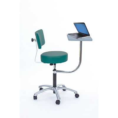 Brandt Laptop Adjustable Height Revolving Stool and Backrest with 360 Degree Rotating Desk (14112 Teal)