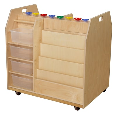 Wood Designs 36H x 37W x 27D Mobile Trolley Art Cart with Translucent Trays (990685CT)