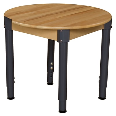 Wood Designs 30 Round Birch Hardwood Tables 18-29H Adjustable Legs (830A1829)