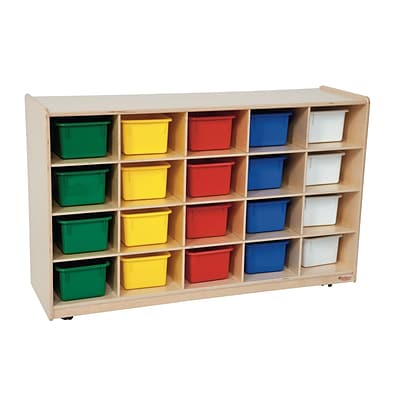 Wood Designs 30H x 48W x 15D Mobile Tip-Me Not 20 Tray Storage with Assorted Trays (14583)