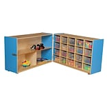 Wood Designs 30H x 96W x 15D Mobile Half & Half Folding Storage with 20 Translucent Trays (146