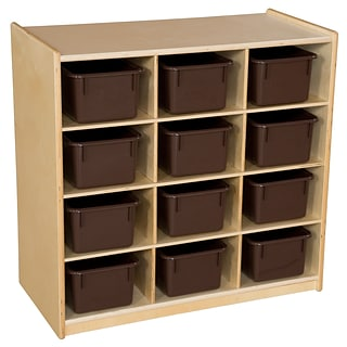 Wood Designs 30H x 30W x 15D Mobile Twelve Cubby Storage Unit with Brown Trays (16122)