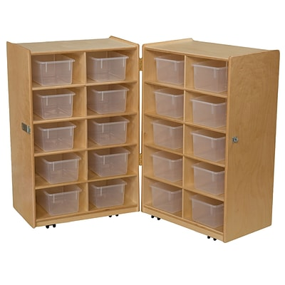 Wood Designs 38H x 48W x 15D Mobile Folding Vertical Storage with Translucent Trays (16201)