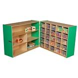 Wood Designs 38H x 48W x 30D Mobile Half & Half Storage with 25 Translucent Trays (23631G)
