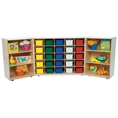 Wood Designs 38H x 96W x 15D Mobile 25 Tri-Fold Storage with Assorted Trays (25503)