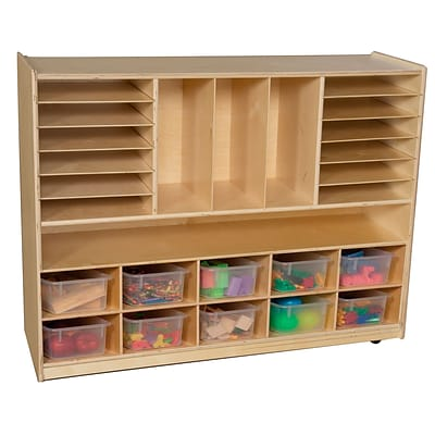 Wood Designs 38H x 48W x 15D Mobile Divided Storage with Translucent Trays (990202CT)