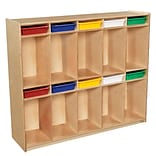 Wood Designs 49H x 58W x 15D Space-Saving Ten Section Locker with Assorted Trays (990314AT)