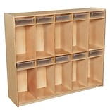 Wood Designs 49H x 58W x 15D Space-Saving Ten Section Locker with Translucent Trays (990314CT)