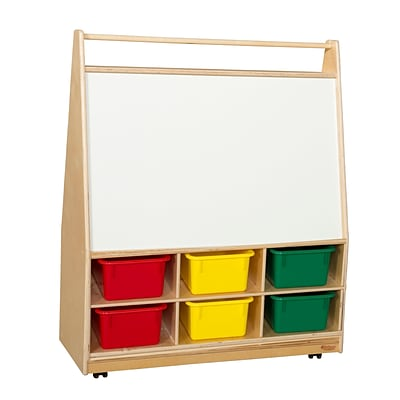 Wood Designs 44H x 36W x 15D  Mobile Literacy Display with Assorted Trays(990321AT)