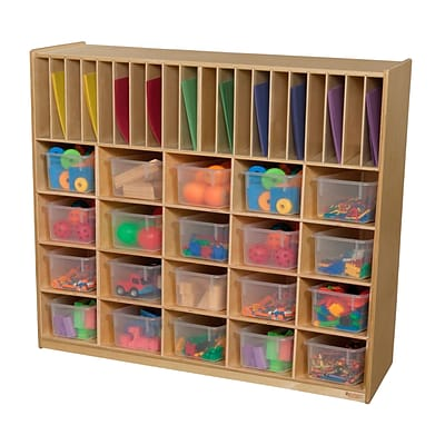 Wood Designs 42.44H x 48W x 15D Multi Storage with Translucent Trays (990326CT)