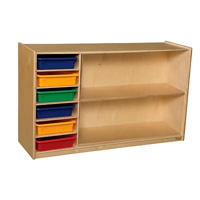 Wood Designs 30H x 48W x 15D Mobile Shelf Storage with Assorted Trays (990331AT)