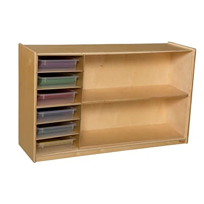 Wood Designs 30H x 48W x 15D Mobile Shelf Storage with Translucent Trays (990331CT)