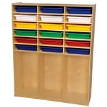 Wood Designs 59.5H x 48W x 15D Storage Shelf with Assorted Trays (990343AT)