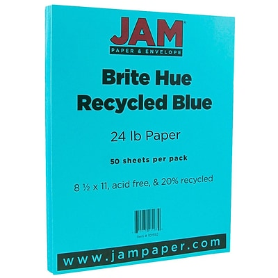 JAM Paper® Bright Color Paper - 8.5 x 11 - 24 lb. Brite Hue Blue Recycled - 50/pack