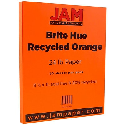 JAM Paper® Bright Color Paper - 8.5 x 11 - 24 lb. Brite Hue Orange Recycled - 50/pack