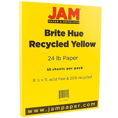 JAM Paper® Bright Color Paper - 8.5 x 11 - 24lb Brite Hue Yellow - 50/pack