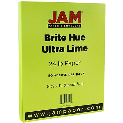 JAM Paper® Bright Color Paper - 8.5 x 11 - 24 lb. Brite Hue Ultra Lime Green - 50/pack