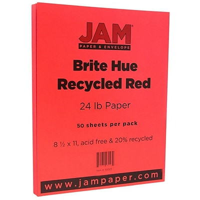 JAM Paper® Bright Color Paper - 8.5 x 11 - 24lb Brite Hue Red - 50/pack