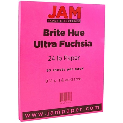 JAM Paper® Colored 24lb Paper, 8.5 x 11, Ultra Fuchsia Pink, 50 Sheets/Pack (184931A)