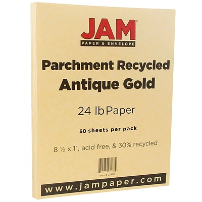 JAM Paper® Parchment 24lb Paper, 8.5 x 11, Antique Gold Recycled, 50 Sheets/Pack (27160A)