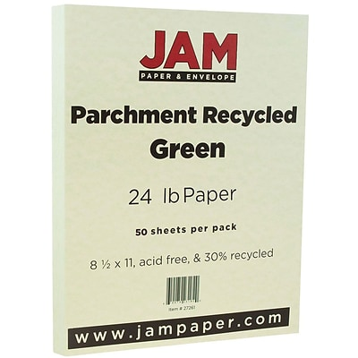 JAM Paper® Parchment 24lb Paper, 8.5 x 11, Green Recycled, 50 Sheets/Pack (27261A)