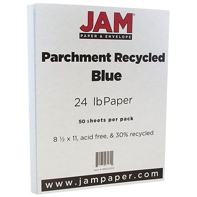JAM Paper® Parchment 24lb Paper, 8.5 x 11, Blue Recycled, 50 Sheets/Pack (96600200A)