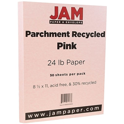 JAM Paper® Parchment 24lb Paper, 8.5 x 11, Pink Recycled, 50 Sheets/Pack (96600900A)