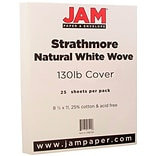 JAM Paper® Extra Heavy Stiff Strathmore Cardstock, 8.5 x 11, 130lb Natural White Wove, 25/pack (1196