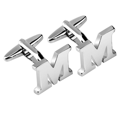 "Zodaca Men's Initial ""M"" Alphabet Letter Silver"